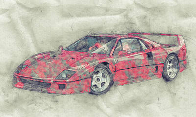 Royalty-Free and Rights-Managed Images - Ferrari F40 - Sports Car 1 - 1987s - Grand Tourer - Automotive Art - Car Posters by Studio Grafiikka