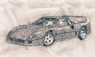 Mixed Media Royalty Free Images - Ferrari F40 - Sports Car - 1987s - Grand Tourer - Automotive Art - Car Posters Royalty-Free Image by Studio Grafiikka