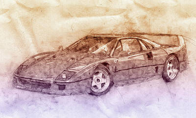 Transportation Royalty-Free and Rights-Managed Images - Ferrari F40 - Sports Car 2 - 1987s - Grand Tourer - Automotive Art - Car Posters by Studio Grafiikka