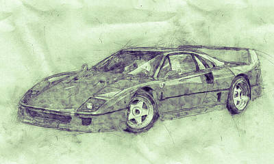 Royalty-Free and Rights-Managed Images - Ferrari F40 - Sports Car 3 - 1987s - Grand Tourer - Automotive Art - Car Posters by Studio Grafiikka