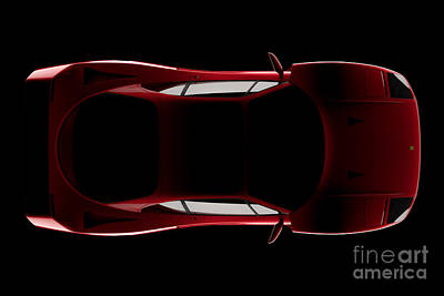 Digital Art - Ferrari F40 - Top View by David Marchal