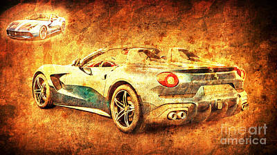Sport Car Drawing - Ferrari F60 America, Golden Poster, Birthday Gift For Men by Drawspots Illustrations