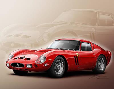 1960 Digital Art - Ferrari Gto 1962 by Etienne Carignan