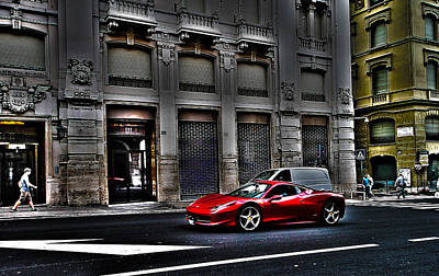 Design Digital Art - Ferrari In Rome by Effezetaphoto Fz
