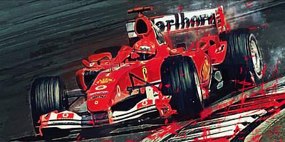 Racetrack Digital Art - Ferrari - Michael Schumacher  by Afterdarkness