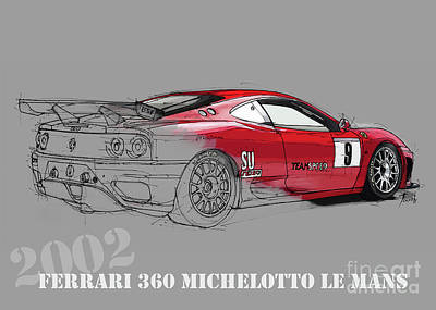 Cars Drawing - Ferrari Michelotto Race Car. Handmade Drawing. Number 9 Le Mans by Pablo Franchi