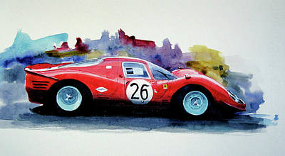 Ferrari P4 Watercolour Art Print