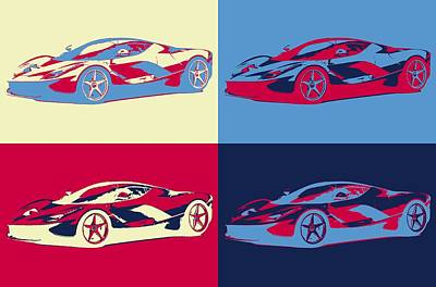 Mixed Media - Ferrari Pop Art Panels by Dan Sproul