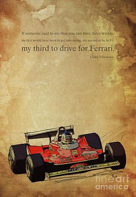 Drawing - Ferrari Race Car, Gift For Men, Brown Background, Original Giles Villeneuve Inspirational Quote by Pablo Franchi