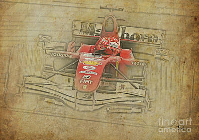 Car Mixed Media - Ferrari Race Car, Gift For Men, Brown Background by Pablo Franchi