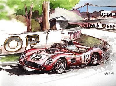 Leman Painting - Ferrari Racing At Lemans by Geoff Latter