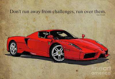 Drawing - Ferrari Red Classic Car And Enzo Ferrari Quote, Vintage Brown Background by Pablo Franchi