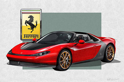 Digital Art - Ferrari Sergio With 3d Badge  by Serge Averbukh