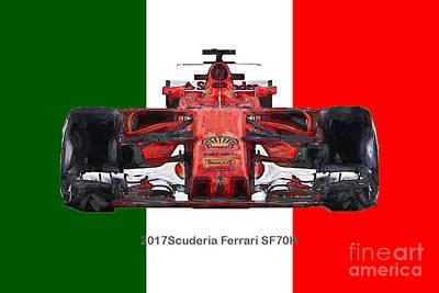 Mixed Media - Ferrari Sf70h by Roger Lighterness
