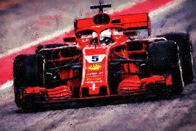 Painting -  Ferrari Sf71h, Sebastian Vettel - 01 by Andrea Mazzocchetti