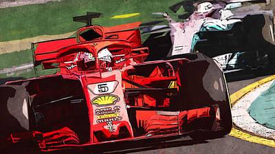 Painting - Ferrari Sf71h, Sebastian Vettel - 03 by Andrea Mazzocchetti