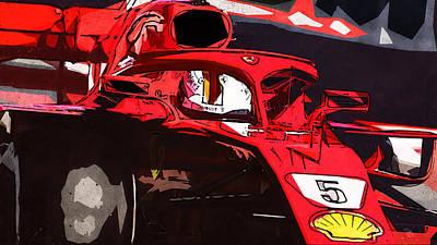 Painting - Ferrari Sf71h, Sebastian Vettel - 04 by Andrea Mazzocchetti