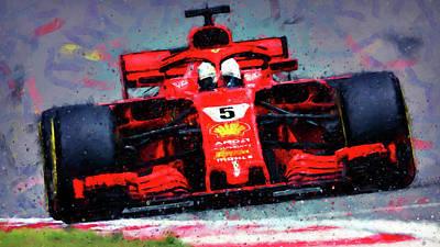 Painting - Ferrari Sf71h, Sebastian Vettel - 05 by Andrea Mazzocchetti