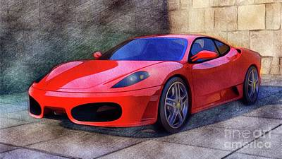 Sports Paintings - Ferrari Supercar by Esoterica Art Agency