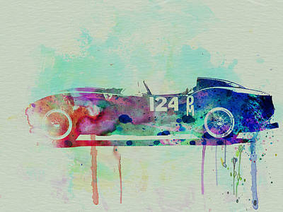 Old Cars Painting - Ferrari Testa Rossa Watercolor 2 by Naxart Studio