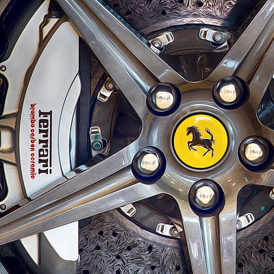 Photograph - Ferrari Wheel Oil Paint Filter by Rospotte Photography