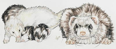 Ferret Painting - Ferret Family by Barbara Keith