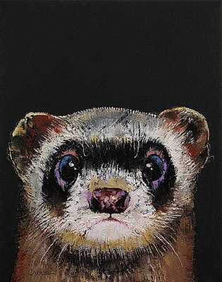 Weasel Painting - Ferret by Michael Creese
