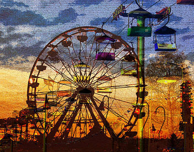 Digital Art - Ferris At Dusk by David Lee Thompson