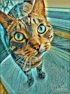 Animal Lover Digital Art - Ferris The Cat - Aqua Glow by Scott D Van Osdol