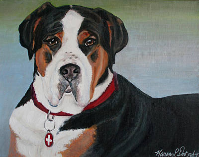 Brown Swiss Painting - Ferris The Greater Swiss Mountain Dog by Karen Dortschy
