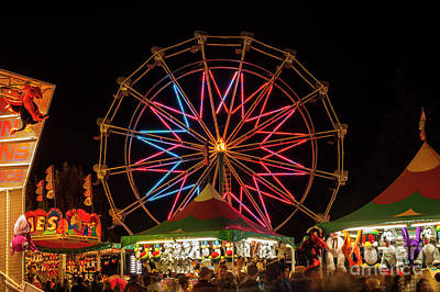 Photograph - Ferris Wheel And Game Booths by Jim Corwin