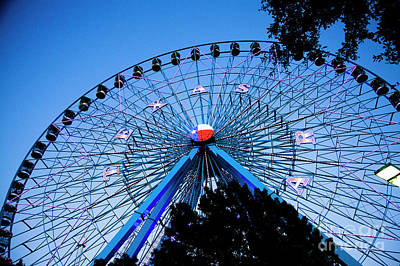Photograph - Ferris Wheel At Dusk, The State Fair Of Texas by Greg Kopriva