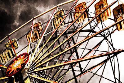 Riesenrad Painting - Ferris Wheel At Sunset by Lanjee Chee