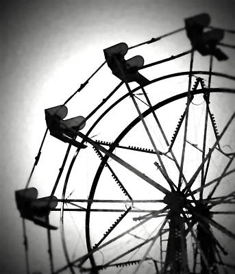 Photograph - Ferris Wheel Bw Enhanced by Mary Bedy