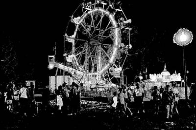 Litho Digital Art - Ferris Wheel Dark Dreams by Theresa Campbell