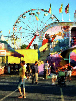 Amusement Parks Photograph - Ferris Wheel In Distance by Susan Savad