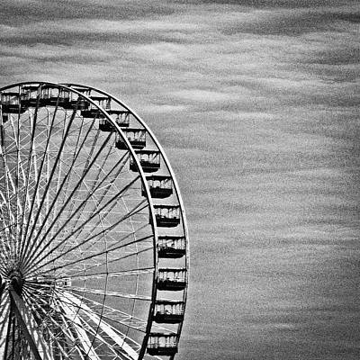 Photograph - Ferris Wheel In Monochrome by Tony Grider