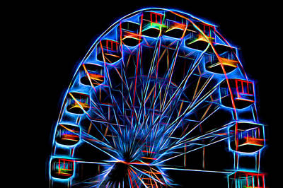 Ferris Wheel Neon Art Print by Terry DeLuco