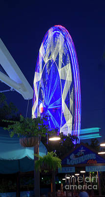 Photograph - Ferris Wheel, Night Motion, The State Fair Of Texas by Greg Kopriva