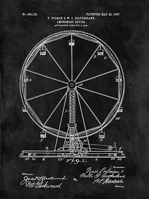1907 Drawing - Ferris Wheel Patent by Dan Sproul