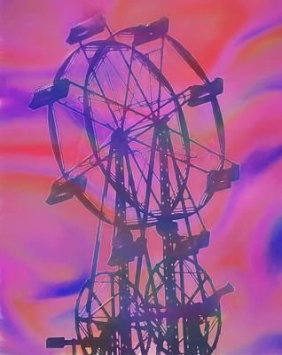 Ferris Wheel Swirly Colors Art Print