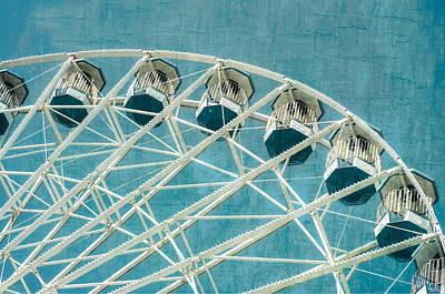 Photograph - Ferris Wheel Texture Series 2 Aqua by Marianne Campolongo