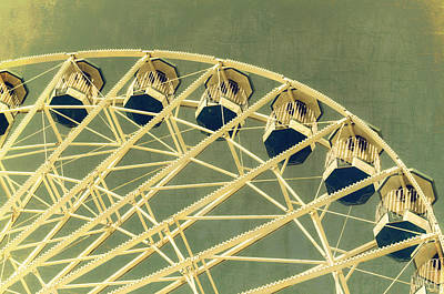 Photograph - Ferris Wheel Texture Series 2 Green by Marianne Campolongo