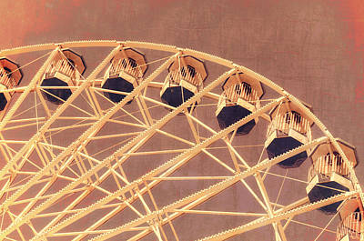 Photograph - Ferris Wheel Texture Series 2 Red by Marianne Campolongo