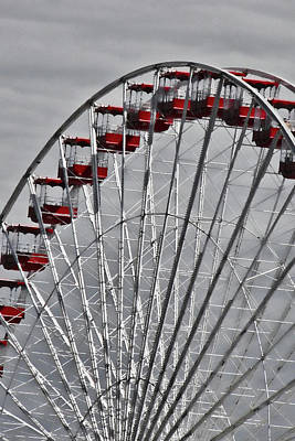 Photograph - Ferris Wheel With Red Chairs by Tony Grider