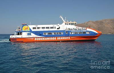 Photograph - Ferry Arrival On Tilos by David Fowler