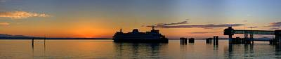 Ferry Boat Arrives To Mukilteo Ferry Terminal Art Print