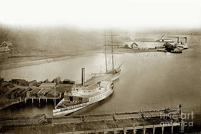 Photograph -  Ferry Boats Sidewheelers Sacramento And California Pacific Rail Co. Circa 1880 by California Views Archives Mr Pat Hathaway Archives