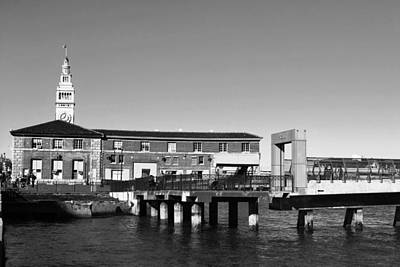 Photograph - Ferry Building And Pinnacle Building - San Francisco Embarcadero - Black And White by Matt Harang