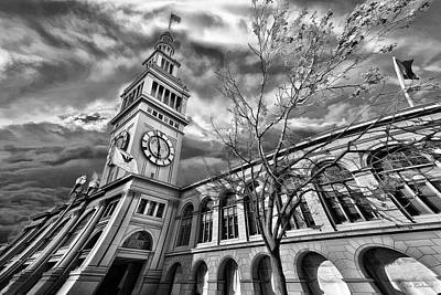 Photograph - Ferry Building Black  White by Blake Richards